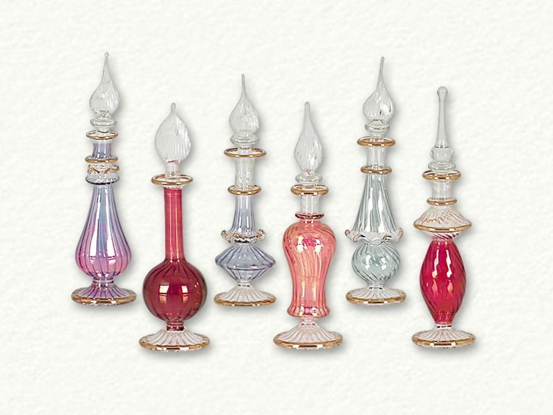 Blown glass perfume bottles lot