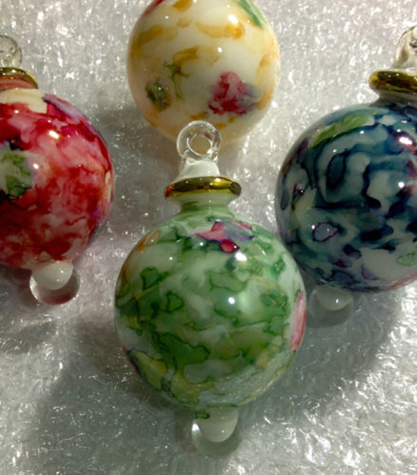 Lot of 4 hand blown glass friendship christmas ornaments