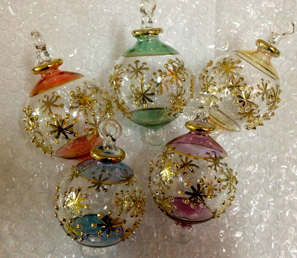 Hand blown glass xmas ornaments lot of 5 pcs