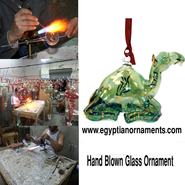 Setting Camel Hand Blown Glass Christmas Ornament