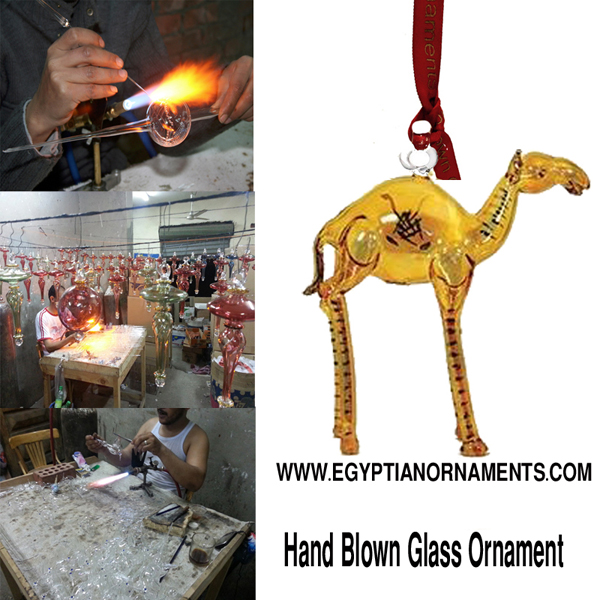 Hand Blown Glass Standing Camel Christmas Ornament