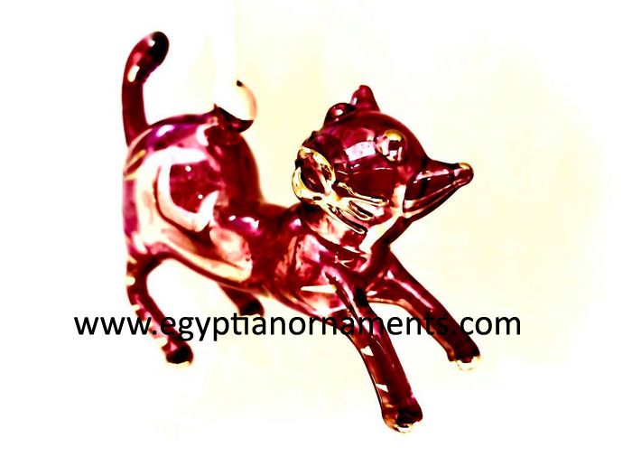 Hand Blown Glass Cat Christmas Ornament