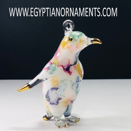 Egyptian Blown Glass Penguin Christmas Ornament