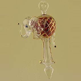 Blown glass Elephant Christmas ornament