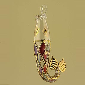 Blown glass colorful fish Christmas ornament