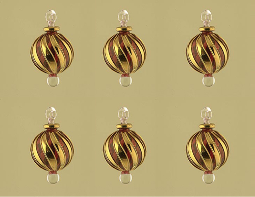 Lot of 6 Hand blown glass ornaments with gold strip