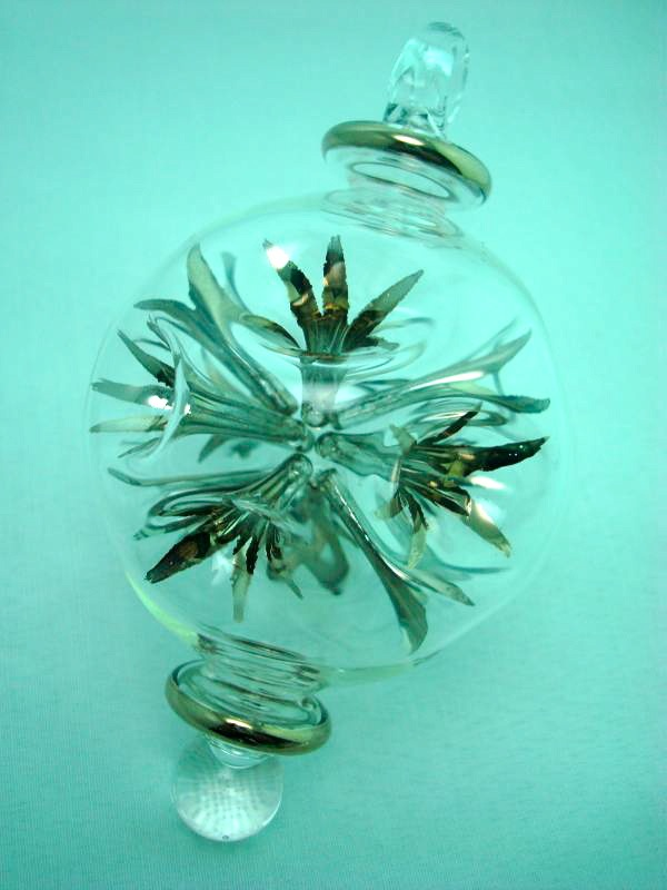 Blown glass firecrackers ball ornament