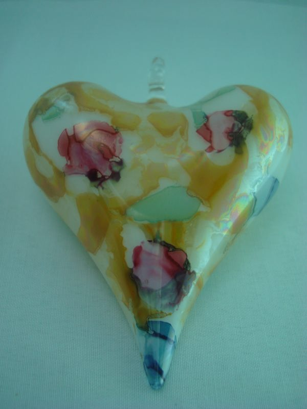 Egyptian blown glass Heart Christmas ornament