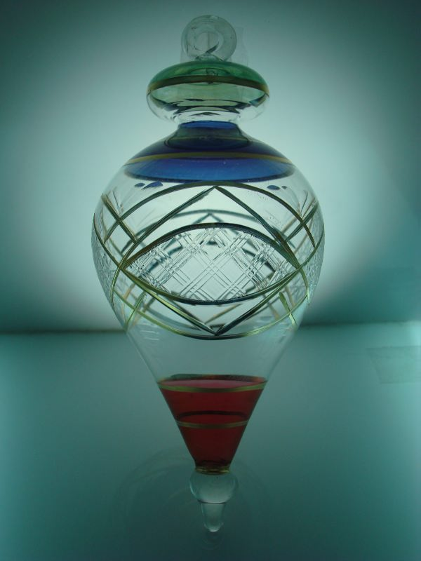 Blown glass cone christmas ornament