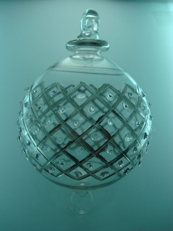 Lattice dots blown glass christmas ornament