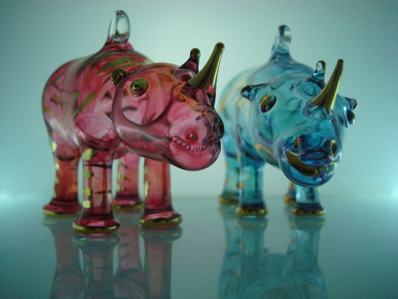 Blown glass rhino christmas ornament