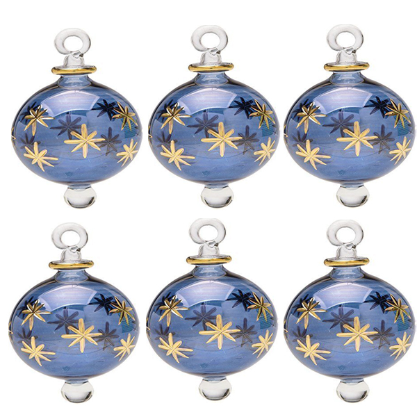 Lot Of 6 Blown Glass Egyptian Christmas Ornaments with 14 k Gold