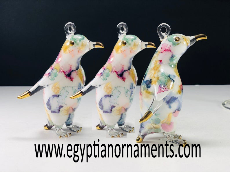 lot of 3 Egyptian Blown Glass Penguin Christmas Ornament