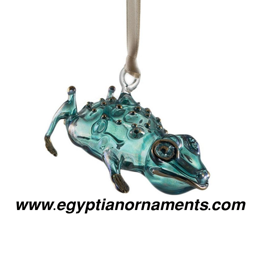 Hand Blown Glass Frog Christmas ornament