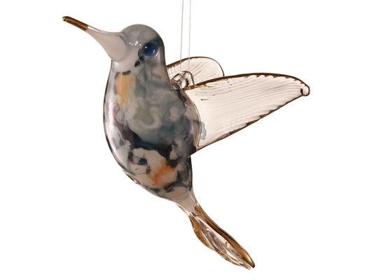 Blown glass Hummingbird Christmas ornament