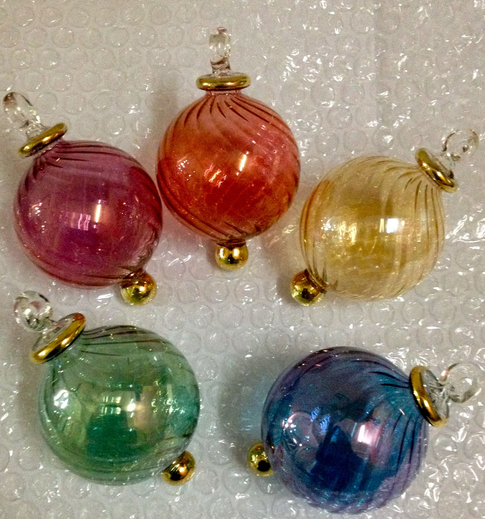 Christmas ornaments glass - Hand Blown Glass Xmas Ornaments Lot