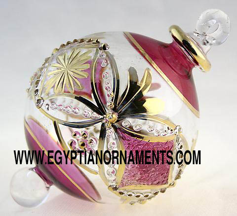 Egyptian blown glass ball ornament