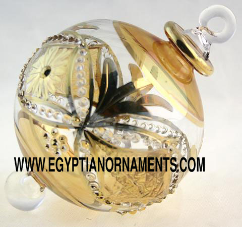 fine etching blown glass christmas ornament