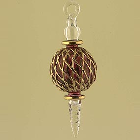 Gold Arabesque glass Christmas ornament