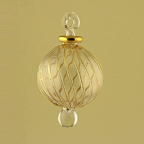 Blown glass Christmas ornament ball with gold stripes