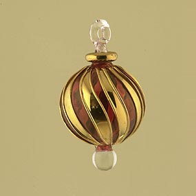 Blown glass Christmas ornament ball with wide gold stripes