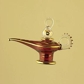 Aladdin Lamp Glass Christmas Ornament