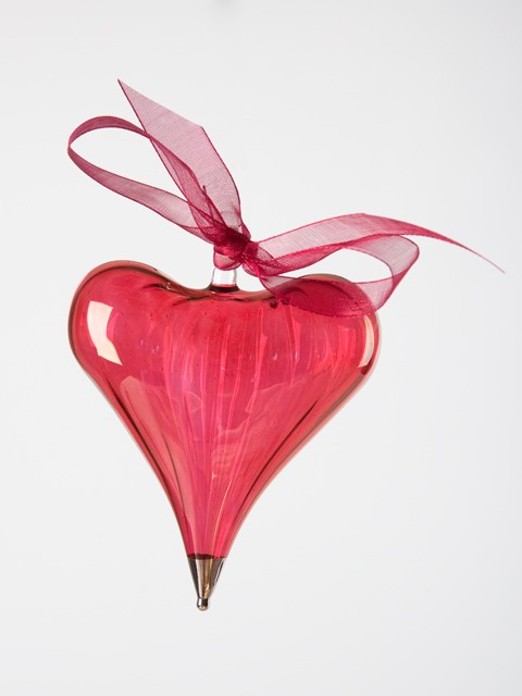 Blown glass heart ornament