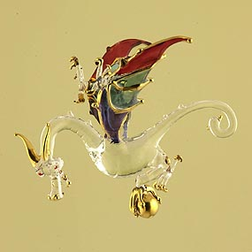 Glass Dragon Christmas Ornaments