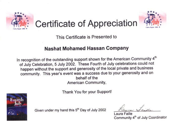 Sample Certificate Of Appreciation  Appreciation Certificates Wording