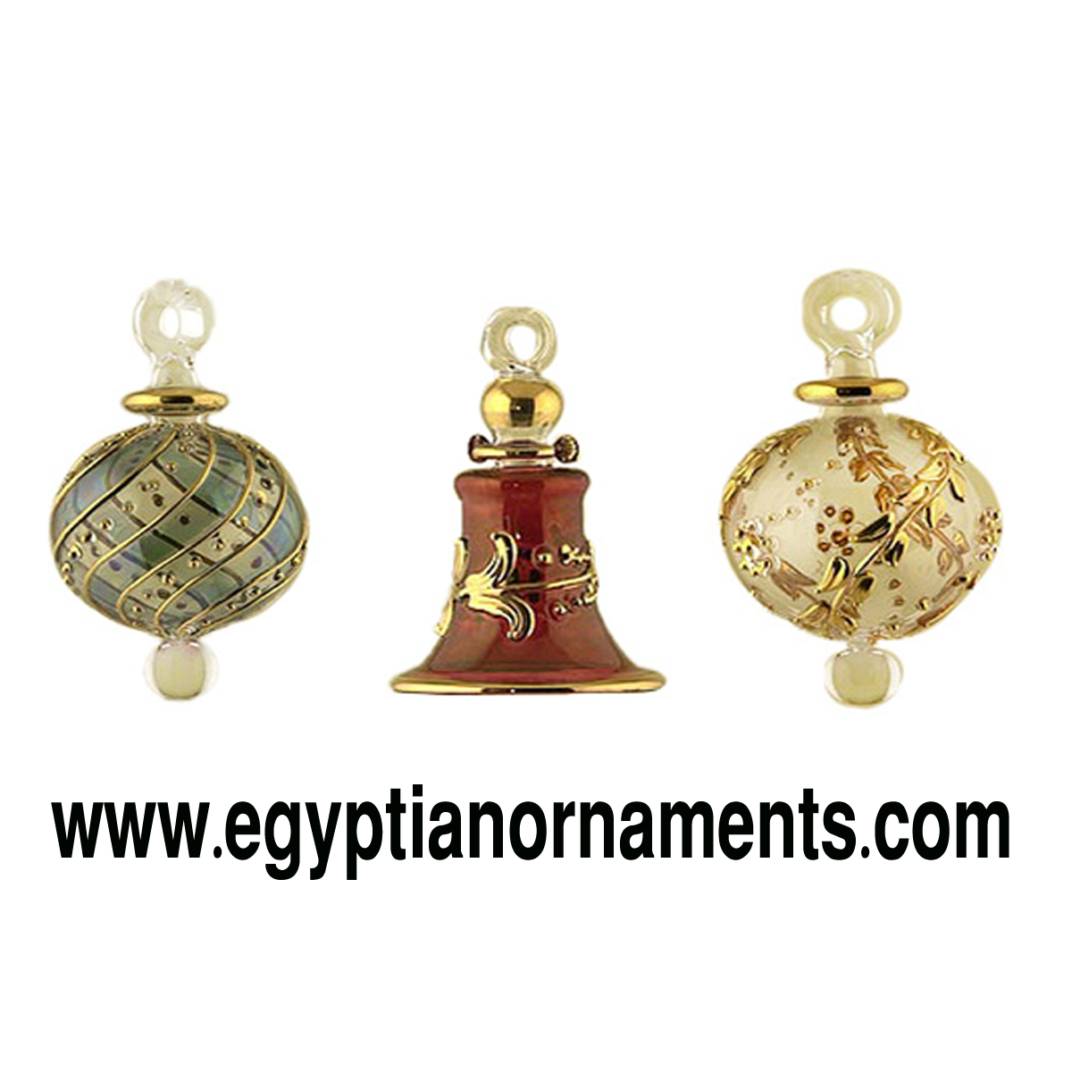 Lot of 3 Egyptian Hand Blown Glass Ornaments