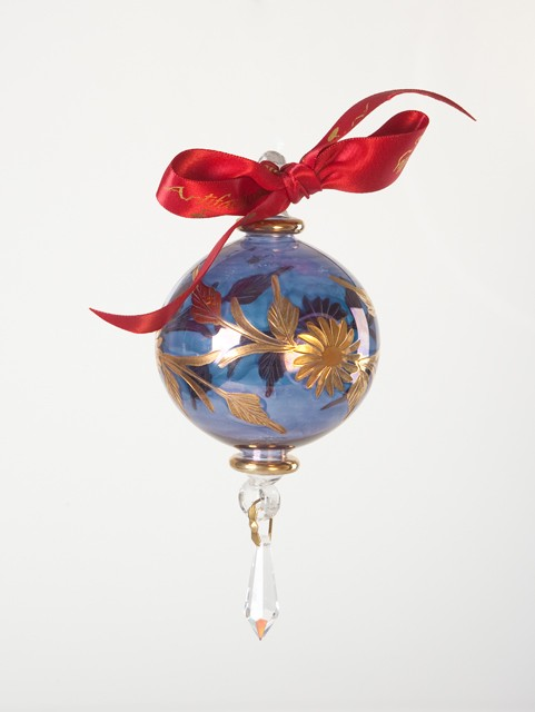 Floral Crystal blown glass ornament