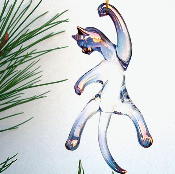 Cat Kitten Figurine Blown Glass Christmas Tree Ornament Suncatch