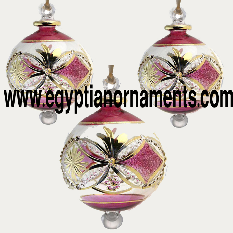 Lot Of 3 Blown Glass Egyptian Christmas Ornaments with 14 k Gold