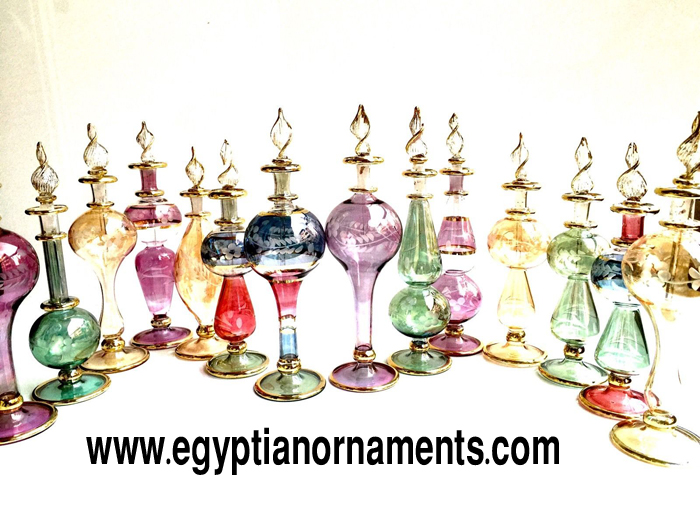 Lot of 24 Hand blown glass perfume bottles 6 inches L