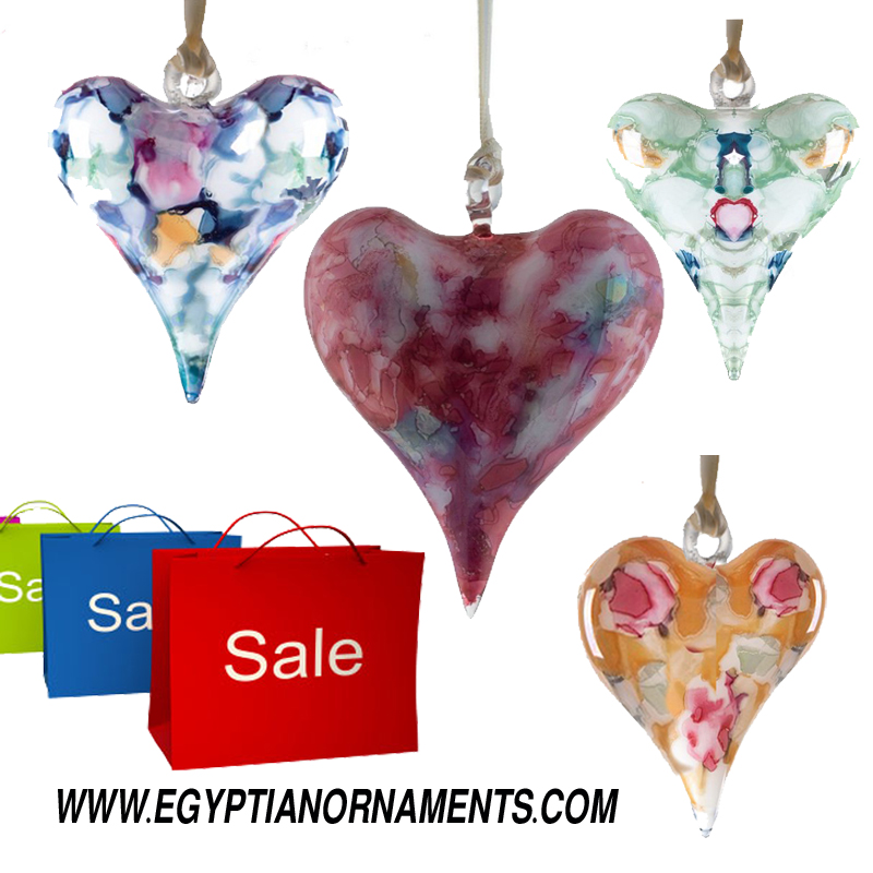 4 Wholesale Hand Blown Glass Hearts wedding ornament