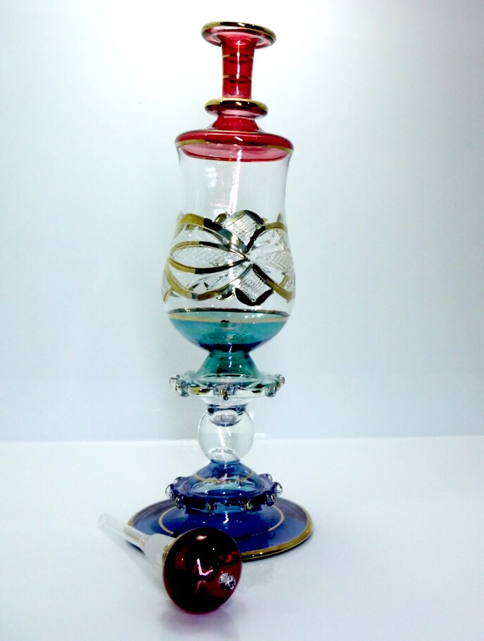 Hand blown glass genie bottle