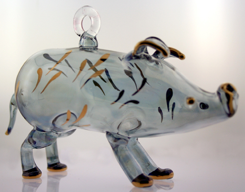 Blown glass Pig Christmas ornament