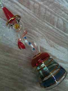 Blown glass snowman Christmas ornament