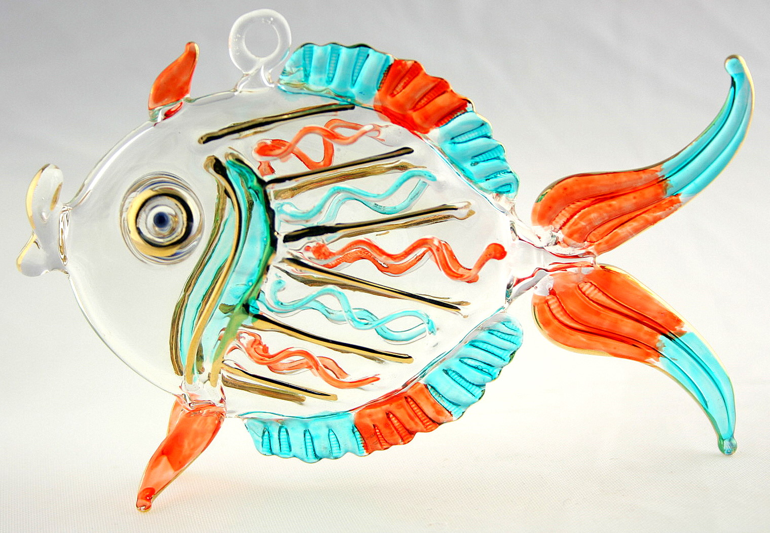 Hand blown glass fish hanging ornament