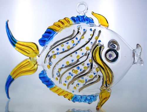 Hand blown glass fish christmas ornament