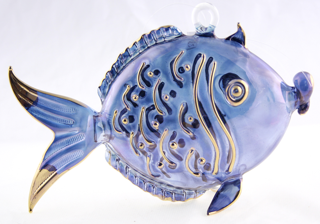 Hand blown glass hanging fish ornament